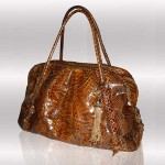 Luxury brown python tote