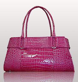 Pink crocodile tote