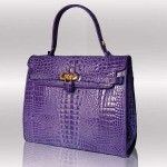 Purple ligator croc handbag