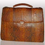 Python leather briefcase