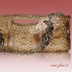 Evening python leather purse