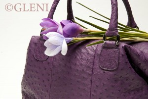Ostrich purple handbag
