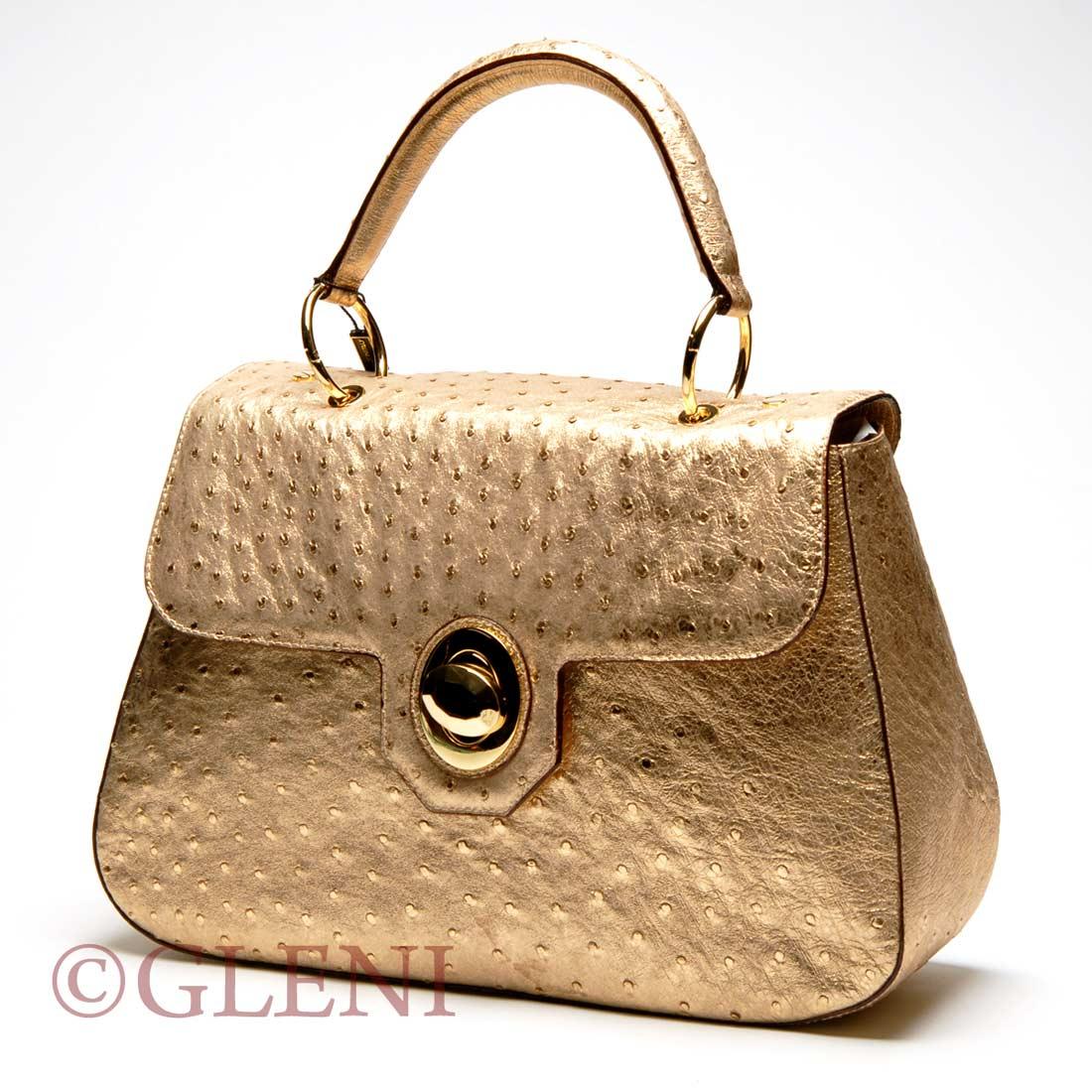 gold ostrich handbag