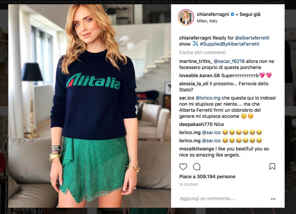 Chiara Ferragni waring Alberta Ferretti during Milan Fashion Week