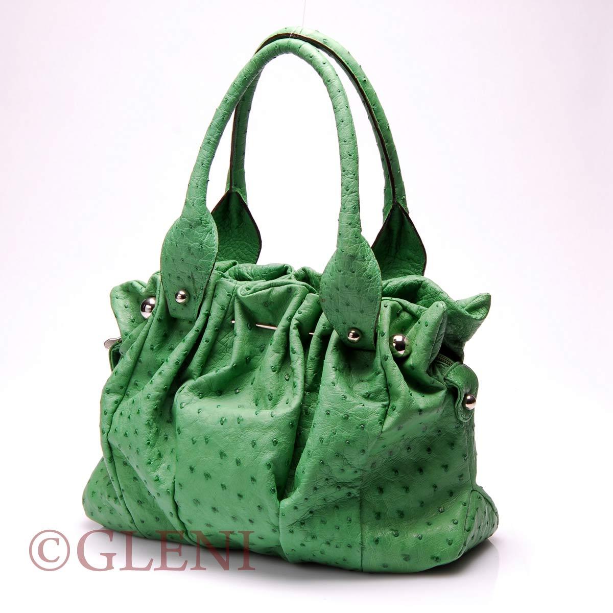 ad132083dc77 Luxury handbag in green ostrich leather