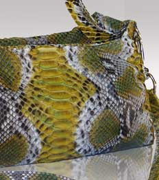 Natural, decorative designs of  python leather