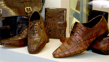 Genuine python and crocodile shoes